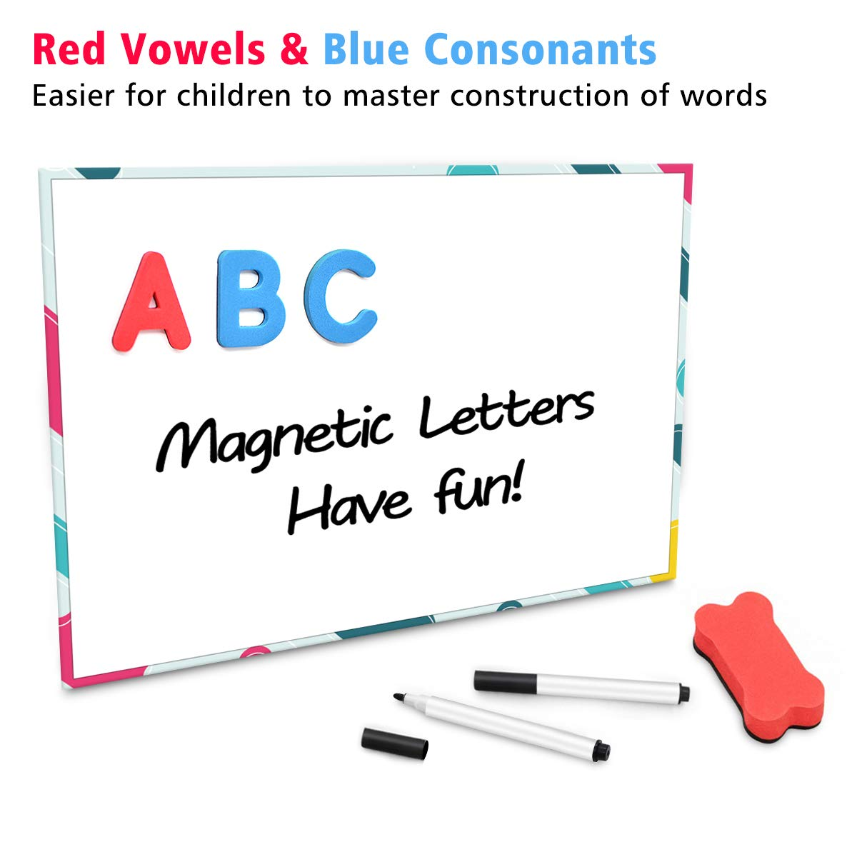 JONYJ Foam Magnetic Letters, Magnetic Alphabet Letters Board with Storage Box, 208 Pcs ABC Uppercase Lowercase Alphabet Magnets for Kids Spelling and Learning - Classroom & Home Education by JONYJ (Image #4)