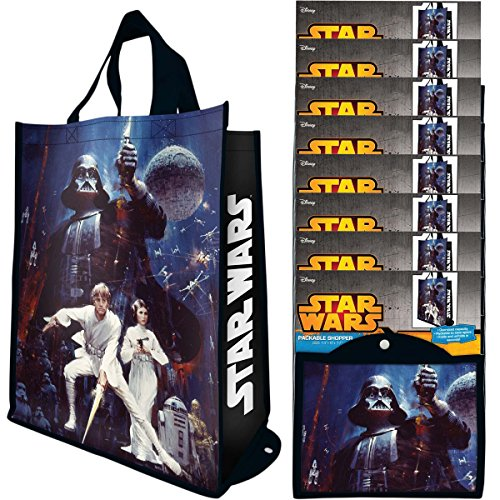 - Vandor (8 Pack) Reusable Shopping Bags Bulk, Large Tote Bags For Kids and Adults, Bulk Set Foldable With Handles, For Shopping and Grocery, Star Wars