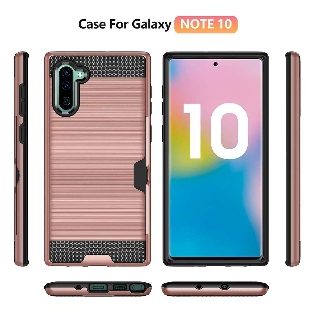 Tznzxm Galaxy Note 10 Case, Fashion Slim Fit 2 in 1 Lightweight Armor [Card Slots Wallet ] Drop Protective Defender Shockproof Non Slip Back Case for Samsung Galaxy Note 10 5G 2019 Rose Gold by Tznzxm