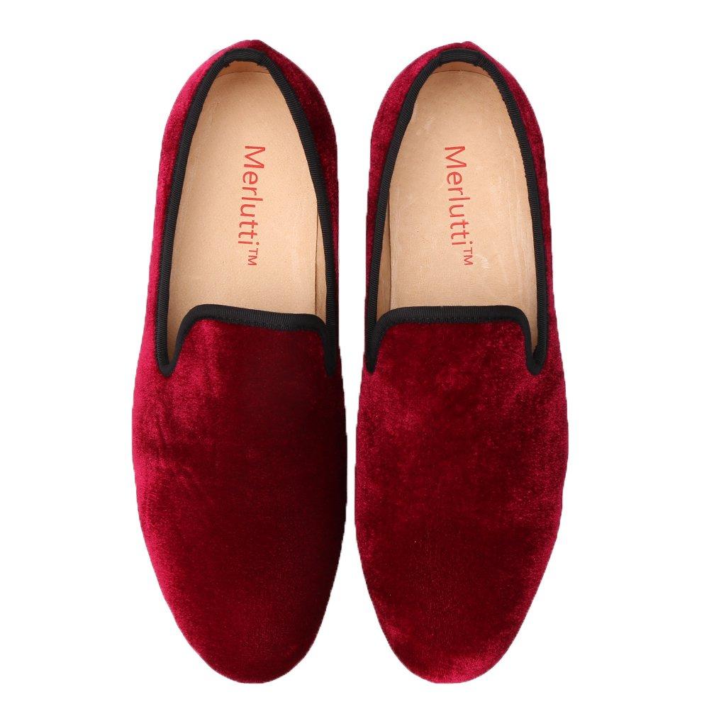 Merlutti Shoes Velvet Smoking Slippers Mens Flat Vintage Velvet Handmade Noble Loafer Shoes Slip-on Plain