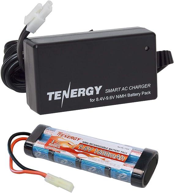 Tenergy 9.6V Airsoft Battery High Capacity 1600mAh NiMH Flat Battery Pack with Mini Tamiya Connector for Airsoft Guns MP5