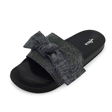 e3aa2c9cc4f FUNKYMONKEY Women's Slides Sandals Bowknot Beach Casual Comfort Slippers
