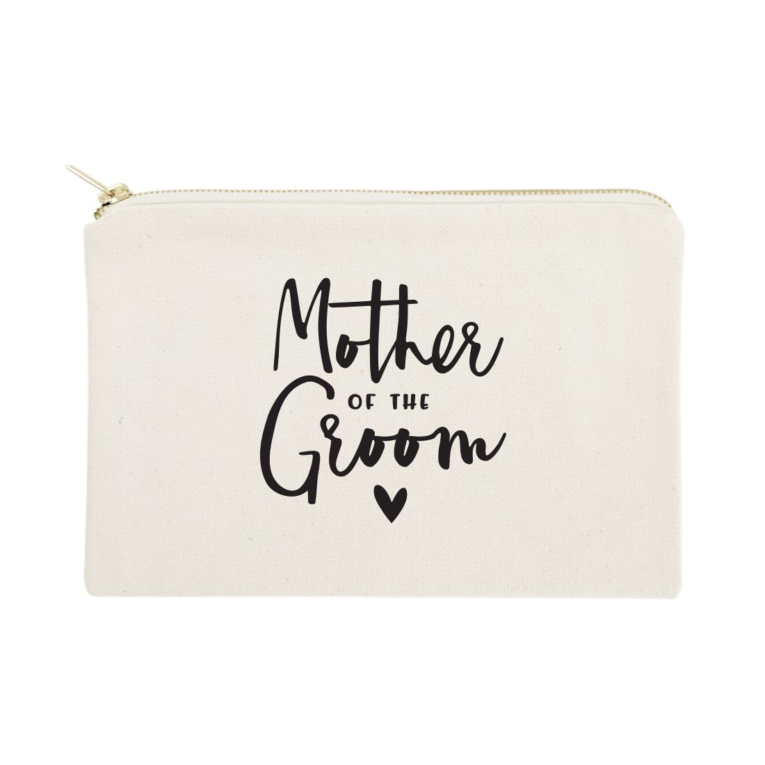 The Cotton & Canvas Co. Mother of the Groom Wedding Cosmetic Bag, Bridal Party Gift and Travel Make Up Pouch