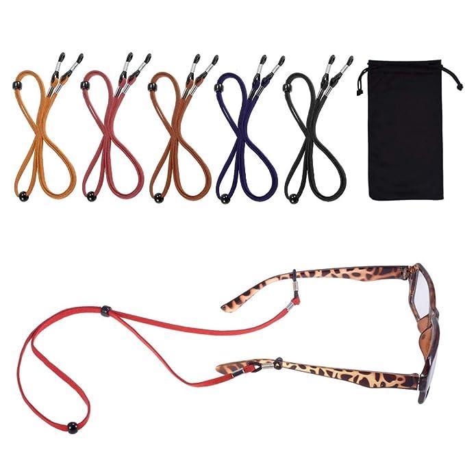 HO2NLE Cordones para Gafas Cuero 5Pcs Correa Gafas de Sol Cuerda Gafas Deporte Ajustable Cinta Gafas Retenedor Colores para Hombre Mujer y Niños con ...
