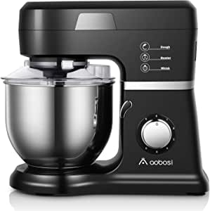 【2020 Upgrade】Aobosi Stand Mixer, 800W Electric Kitchen Food Mixer With 6 Speed Options 5L Stainless Steel Bowl,Knob Control,Splash Guard,Dough Hook,Whisk,Beater,Black