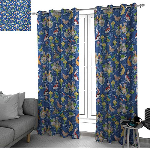 Japanese Room Darkening Noise Reducing Blackout Curtain for Bedroom/Living Room Sliding Door Curtains Traditional Pattern with Koi Pond Birds Various Flowers Butterflies Asian Nature curtain ()