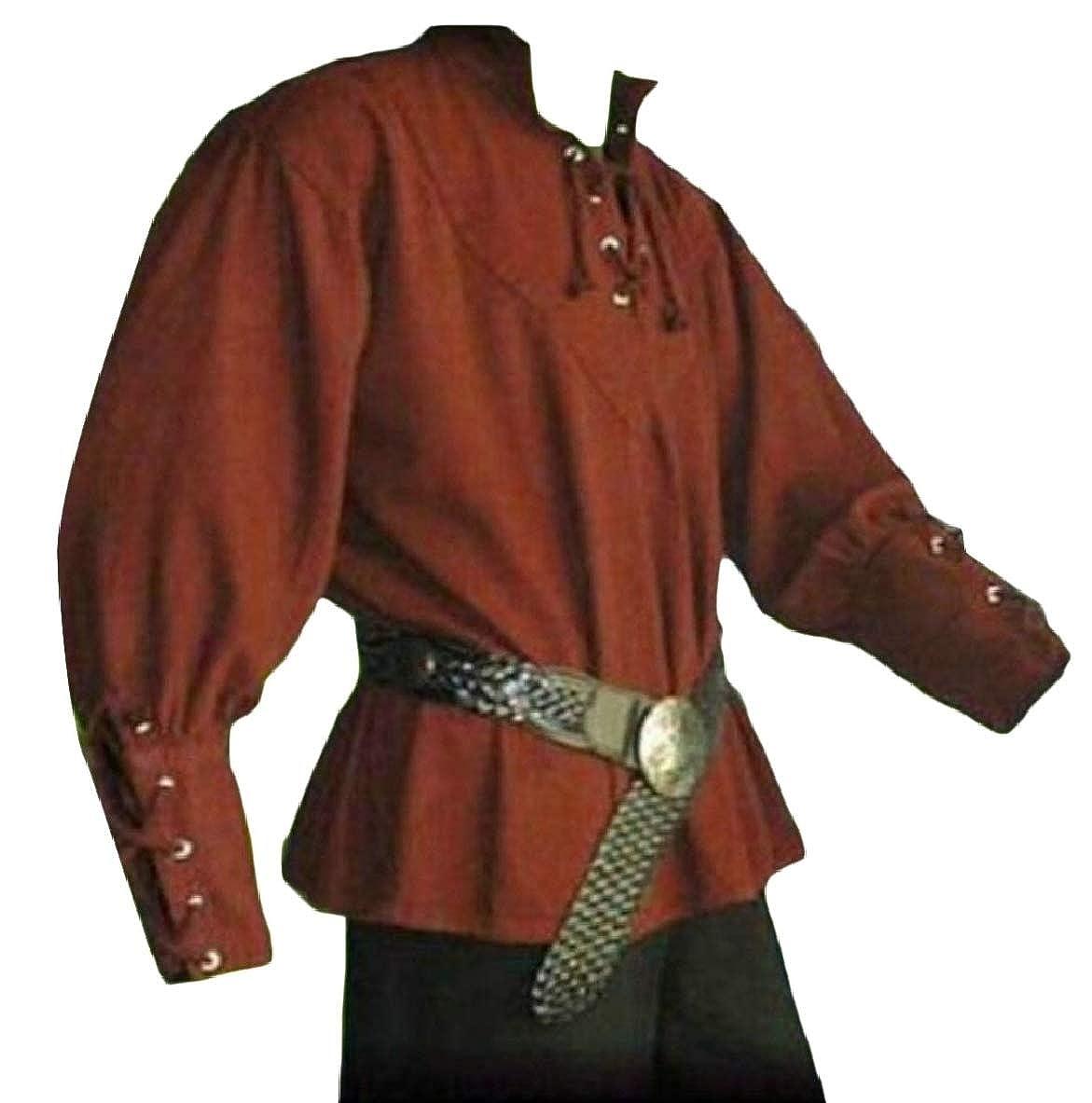 pujingge Mens Medieval Long Sleeve Loose Bandage Blouse Tops Shirt