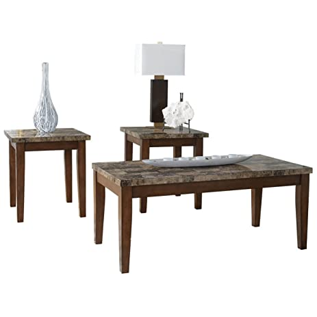 Ashley Furniture Signature Design   Theo Faux Marble Top Occasional Table  Set   Contains Cocktail Table