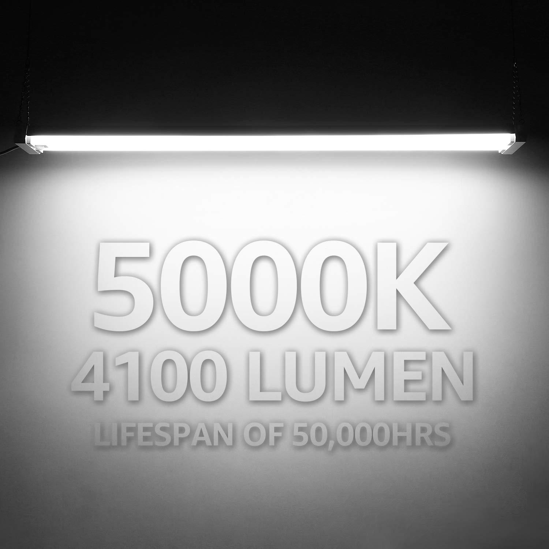 LEONLITE 4ft/Linkable LED Motion Activated Utility Shop Light 40W/ 4000K Cool White Energy Star /& ETL Listed 4100lm LED Ceiling Fixture 120W T8 Tubes Equiv. for Garage//Basement//Workshop