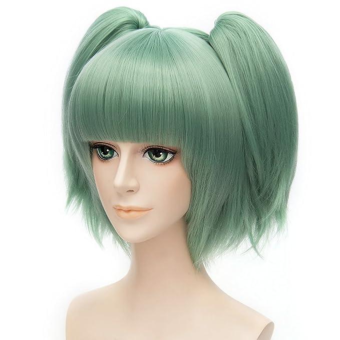 "Amazon.com: GOOACTION 12"" 30cm Ponytail Short Women Wigs Assassination  Classroom Kayano Kaede Cosplay Costume Lolita Wigs, Green: Beauty"