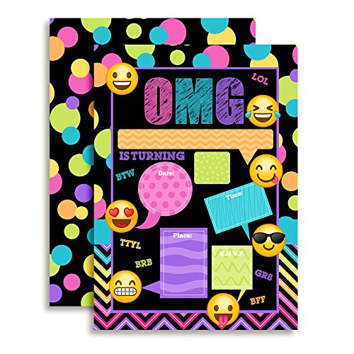 Emoji Texting Birthday Party Invitations, 20 5