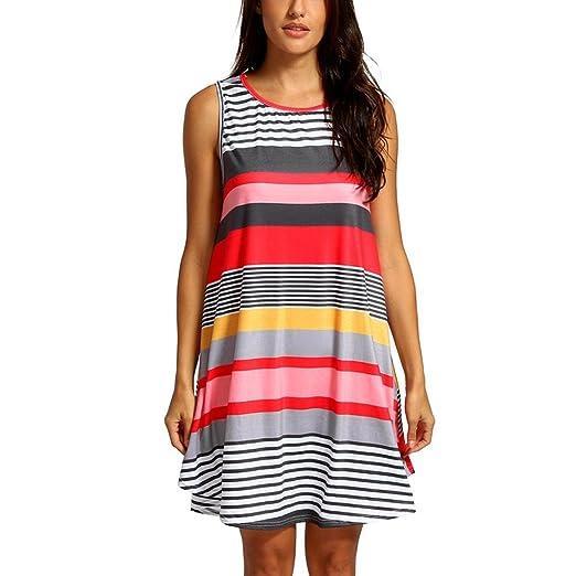 c19e2172d63 amuster Mujer Sin Mangas Vestido de verano mini vestido playa vestido  Fiesta Vestido Cuello Redondo Mujeres