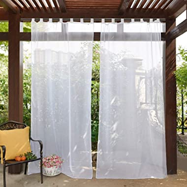 PONY DANCE Outdoor Decor Sheers - Voile Curtain Panel for Patio Tab Top Waterproof Fabric Drapes with Tie Rope for Gazebo/Pergola/Porch/Garden, 54 W x 84 L inches, White, 1 Piece