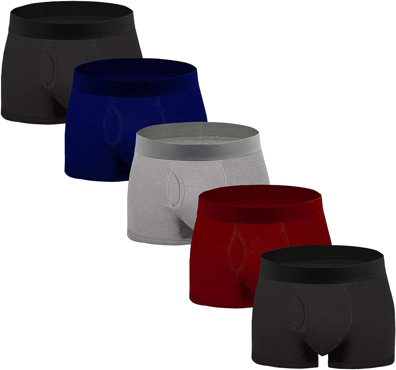 Aserlin Men's Underwear Boxer Briefs 5 Pack Cotton No Ride-up Sport Underwear Boxers for Men