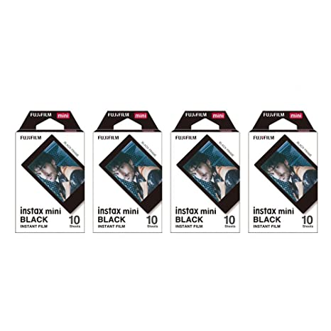 Fujifilm Instax Mini película instantánea negro marco, 4 unidades ...