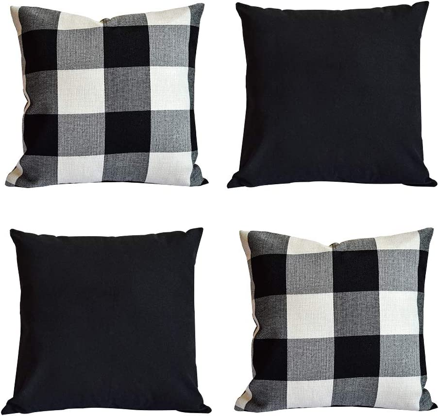 HOPLEE Outdoor Pillow Covers Buffalo Plaid Farmhouse Pillow Covers 18x18 Black Throw Pillows, 4 Pack