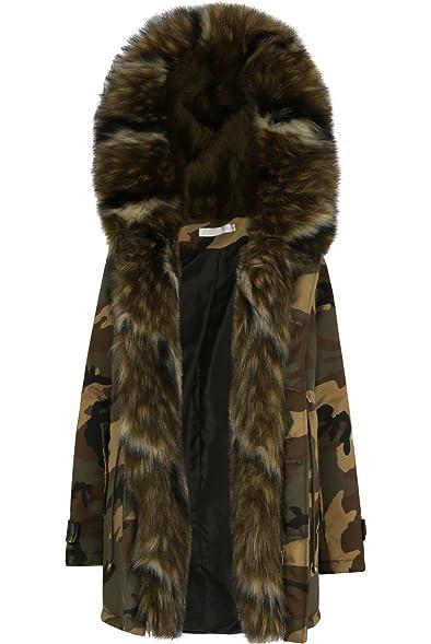 Momo&Ayat Fashions Ladies Multi Khaki Faux Fur Lined Camouflage ...