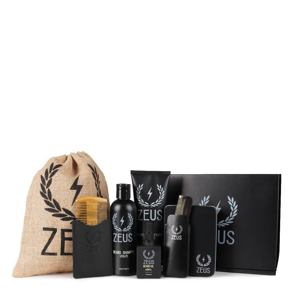 Zeus Executive Beard Care Kit - Grooming Tools and Beard Care Set for Men! (Scent: Verbena Lime)