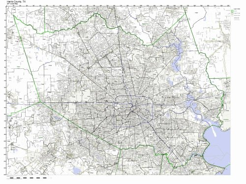Harris County, Texas TX ZIP Code Map Not Laminated