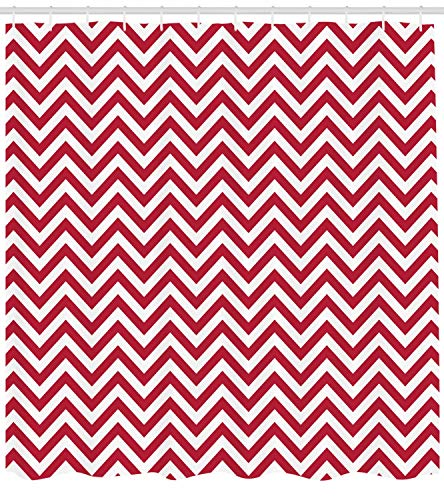- Chevron Shower Curtain Classical Style Zig Zag Stripes Retro Revival Pattern with Simplistic Design Fabric Bathroom Decor Set with Hooks Long Dark Coral 72
