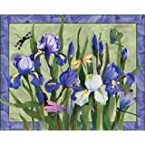 Magic Slice Non-Slip Flexible Cutting Board/Gourmet, 12 by 15-Inch, Iris with Dragon Flies by Paul Brent