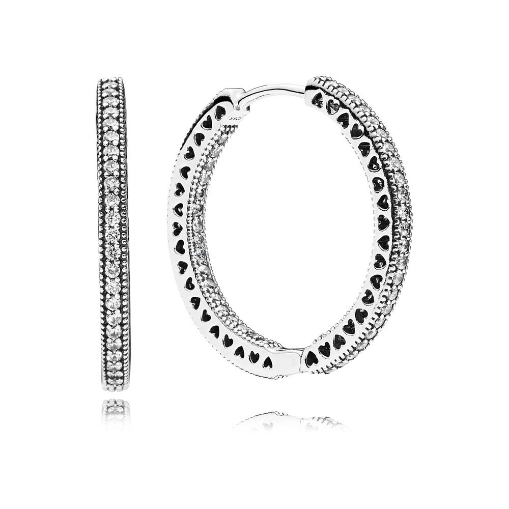 PANDORA Hoop Earrings in Sterling Silver with Clear Cubic Zirconia and Cut-Out Heart Details 296319CZ