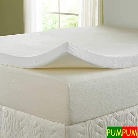 PumPum 2 Inches Memory Foam Mattress Topper with Cover ,Queen Size (78 x 60),White