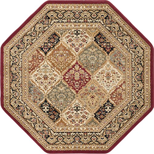 Princeton Traditional Oriental Red Octagon Area Rug, 5