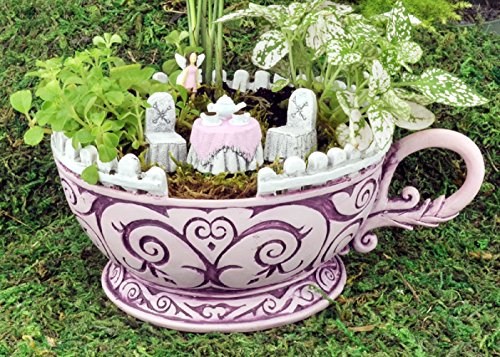 Georgetown Home & Garden, Fiddlehead Fairy Garden, Pink Teacup Planter and Accessory Set. Includes Pink Teacup Planter, Micro Pink Tea Table with White Chairs, and Micro Fairy in Pink Dress. -