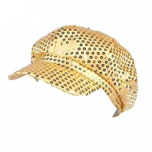 ACTLATI Fashion Sequins Visor Beret Newsboy Cap for Men Women Gold ... 36ce6fafbec1