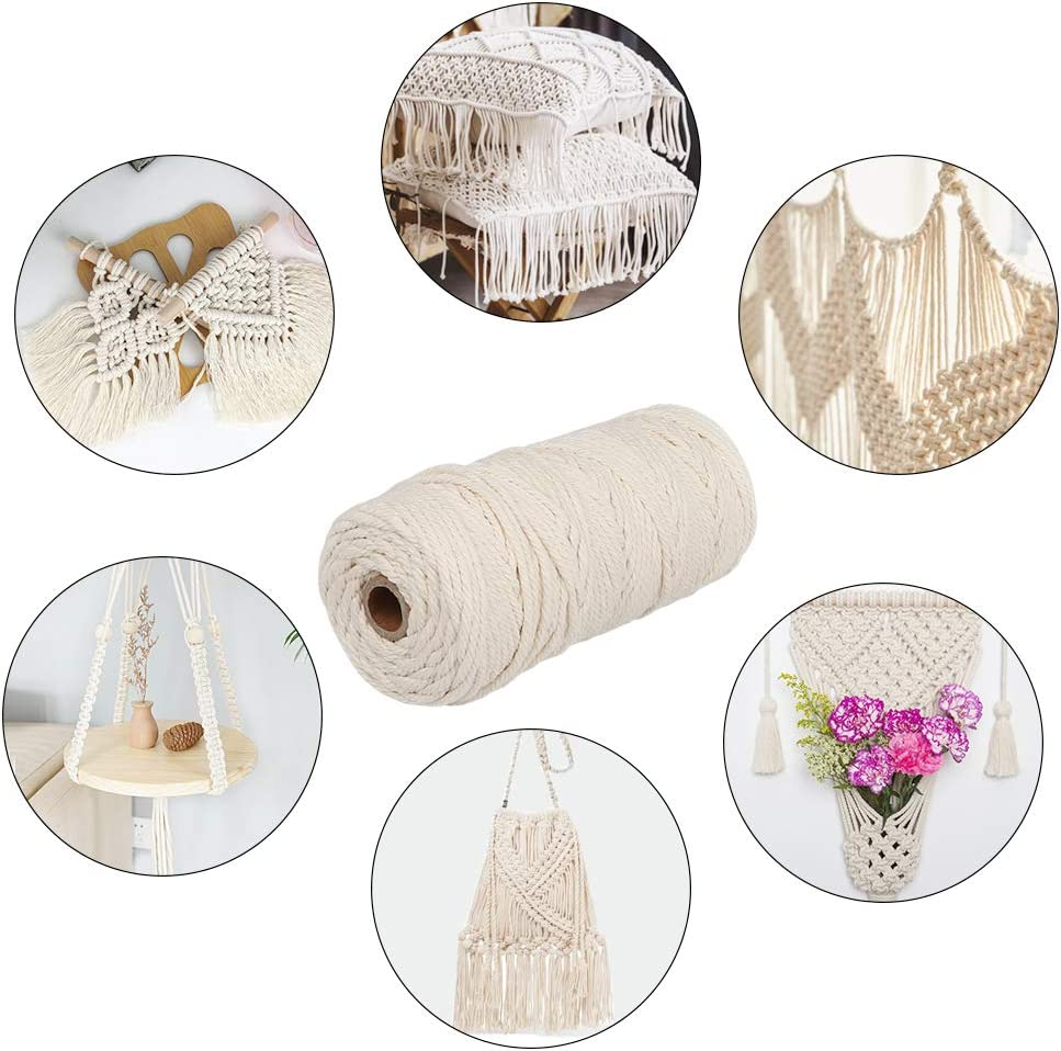 3mm Macrame Cord 100m Natural Macrame Rope with Wood Ring and Wood Stick and Colour Cord for Plant Hanger Wall Hanging Knitting Craft Beginners,Knitting,Decoration Project,Macrame Hanging Yard