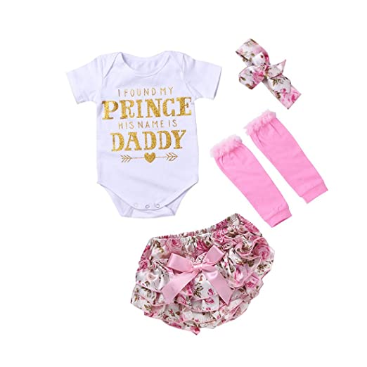 da64eabc01f WINZIK Newborn Infant Baby Girls Outfits Prince Daddy Letters Printed  Romper+ Pants+ Socks+ Hairband Jumpsuit Clothes