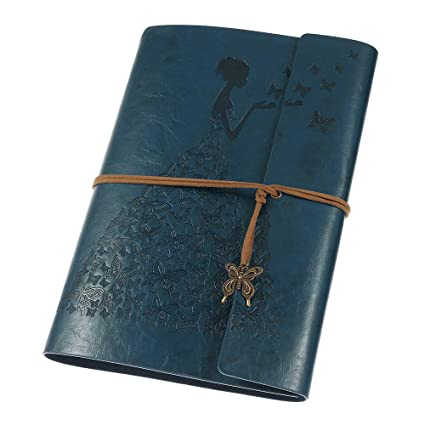 bbb79f52cf7d Leather Journal, Vintage Spiral Refillable Notebook Sketchbook Butterfly  Journal to Write in for Women Girls Gifts