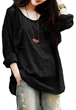 f01929b4c3a goldenharvest GH Women Summer Plus Size Cotton Linen Blouse Loose Fit Long  Sleeve T-Shirts at Amazon Women's Clothing store: