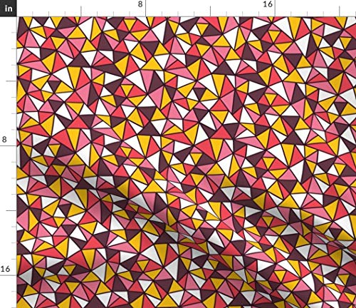 Mosaic Fabric - Geometric Triangles Mosaic Abstract Triangle Geometric Party Disco Crazy Print on Fabric by The Yard - Sport Lycra for Swimwear Performance Leggings Apparel Fashion
