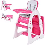 Costzon Baby High Chair, 3 in 1 Infant Table and Chair Set, Convertible Booster Seat with 3-Position Adjustable Feeding Tray,