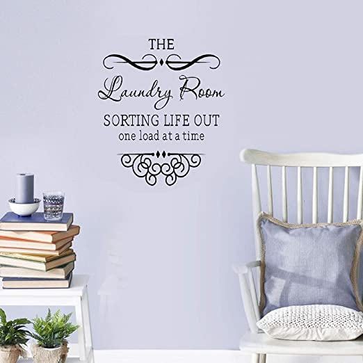 Laundry Wall Sticker Inspirational Wash Room Saying Quote Vinyl Mural Decor Idea