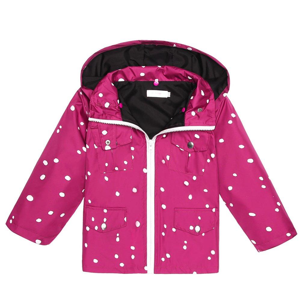 Arshiner Girls Kids Rain Coat Jacket Hoodie Outwear, Rose Red 90