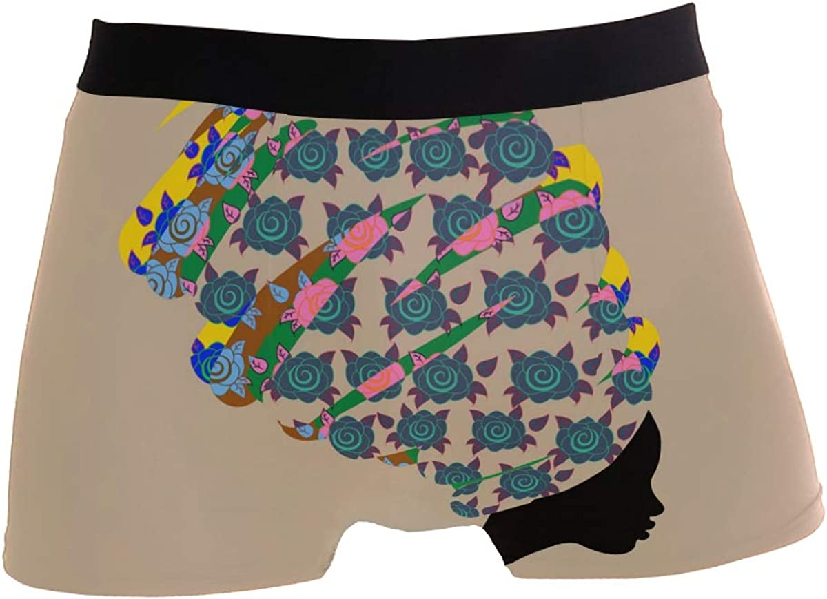 SUABO Mens 2-Pack Boxer Briefs Polyester Underwear Trunk Underwear with White Floral Design