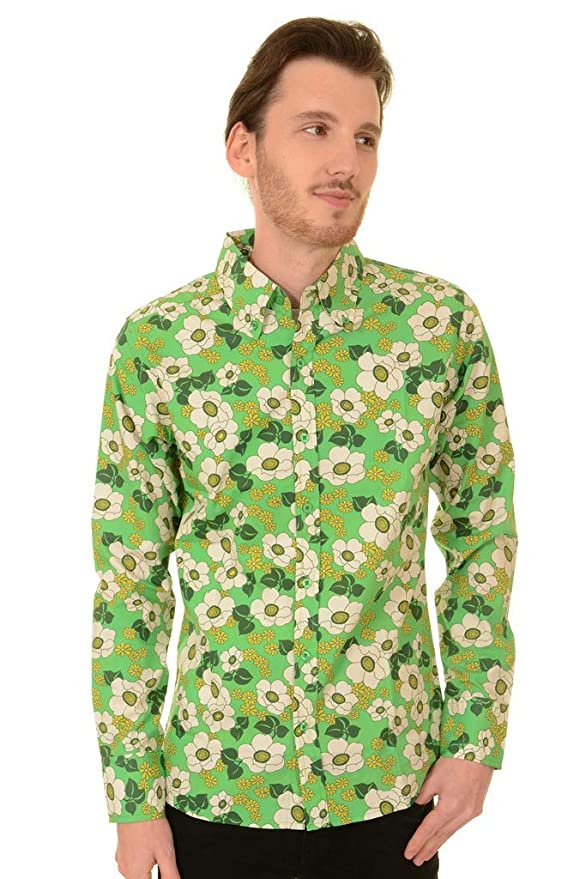 1960s – 70s Mens Shirts- Disco Shirts, Hippie Shirts Run & Fly Mens 60s Retro Floral Peppermint Poppy Long Sleeve Shirt £29.95 AT vintagedancer.com