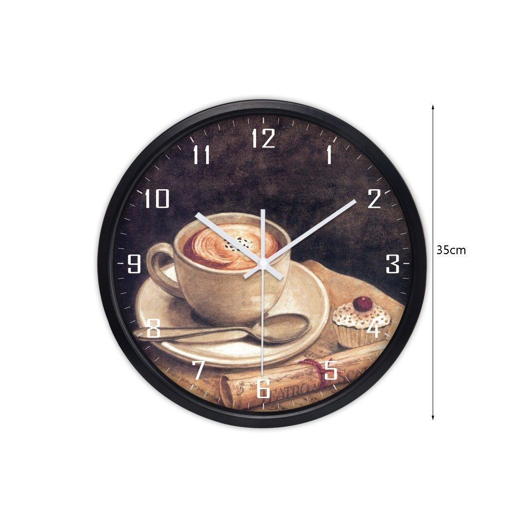 現代トレンドパーソナリティメタルウォールチャートリビングルームのベッドルームの装飾のアイデアシンプルな大きなミュートの壁時計 (色 : ブラック, サイズ さいず : 35 cm 35 cm) B07CYTJY5J 35 cm 35 cm|ブラック ブラック 35 cm 35 cm