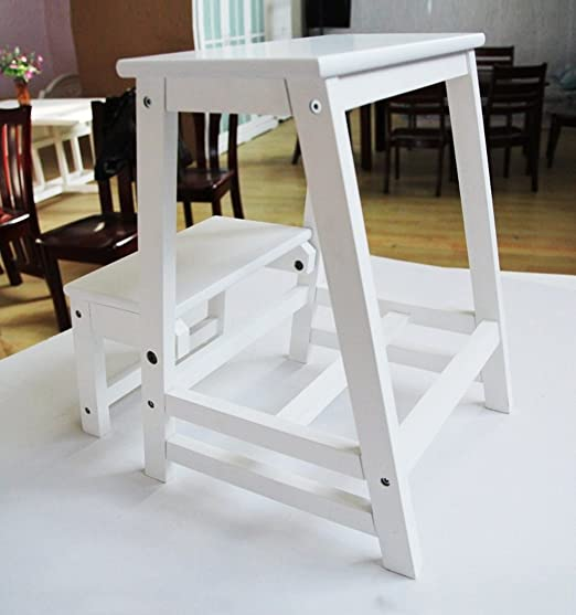 CAIJUN Taburete Plegable de Escalera Sillas Simple 2 Plantas Madera Casa, Grados 50cm, 8 Colores Taburete Escalera Peldaños (Color : Blanco): Amazon.es: Hogar