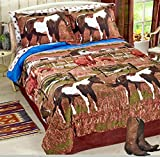 Pinto Paint SHOW HORSES & PONIES Out to Pasture Brown Comforter Set w/Sheets (8pc QUEEN SIZE)