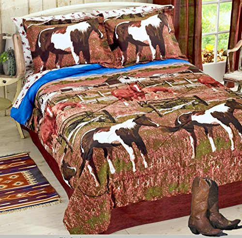 Pinto Paint SHOW HORSES & PONIES Out to Pasture Brown Comforter Set w/Sheets (6pc TWIN (Twin Horse Comforter)
