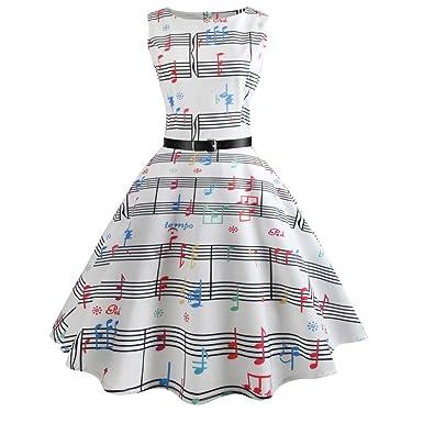 40fb0805666 vmree Women Vintage 1950 s Audrey Hepburn Style Dress Music Score Waisted  Rockabilly Swing Sundress - Multicoloured