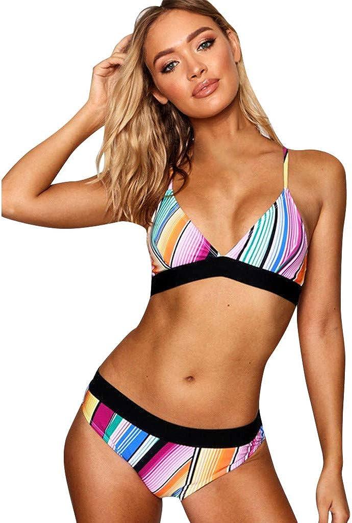 Lialbert Estate Bikini da Donna 2 Pezzi,Womens Colorful Striped/Reggiseno a Fascia Incrociata Push-up Bikini V Profondo Costume da Bagno Holiday Beach
