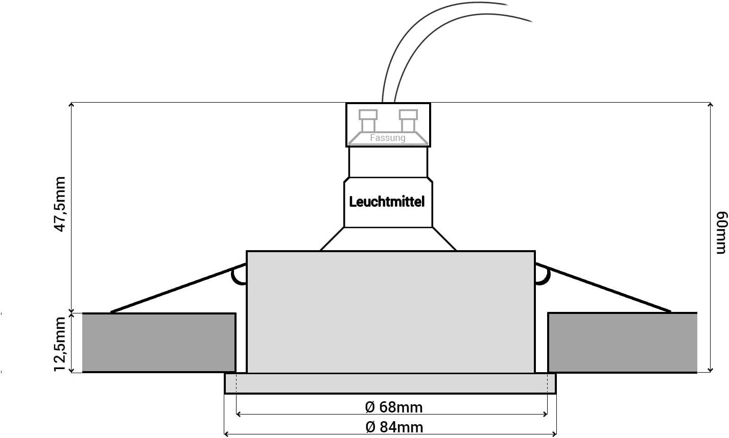 K/üche /& Au/ßen f/ür Bad linovum 10x LED Bad Einbaustrahler Set IP65 Edelstahl Optik rund 230V neutralwei/ß 3W 200 Lumen