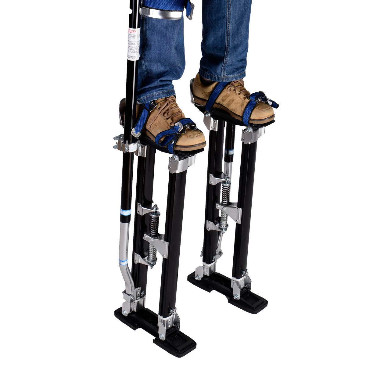 BeUniqueToday Black Height Adjustable 18''-30'' Drywall Aluminum Stilts with Strong Straps, Made of Industrial Grade Aluminum Alloy, Ergonomic Design