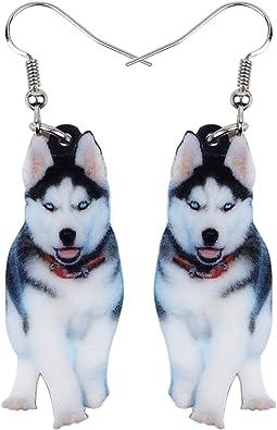 Sterling Silver Ladies Girls HUSKEY Huskies Dog Lovers Stud Earrings /& Gift Box