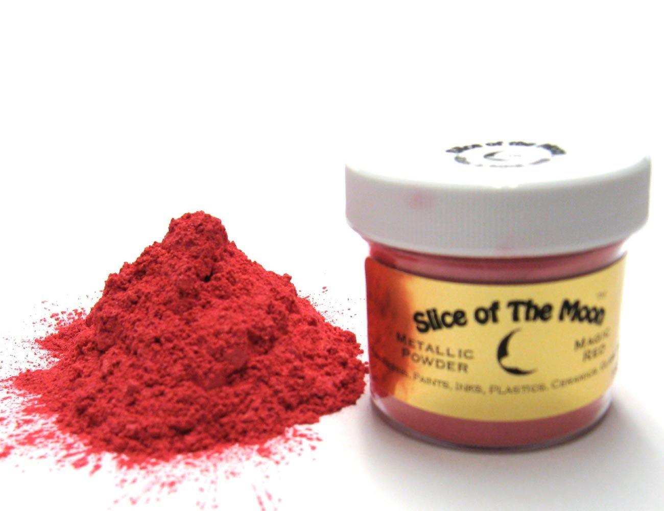 Magic Red Mica Powder 1oz, Metallic Pink Powder, Cosmetic Mica, Slice of the Moon